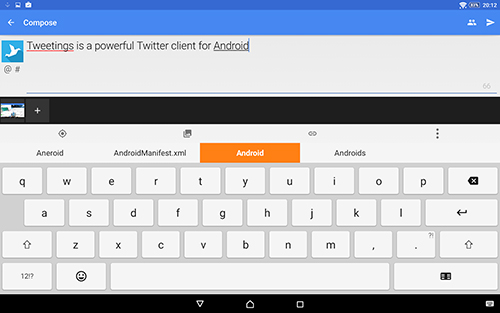 Screenshots des Programms Tweetings für Android-Smartphones oder Tablets.