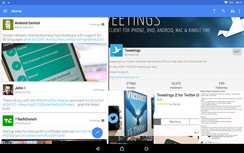 Screenshots of Tweetings program for Android phone or tablet.