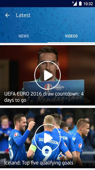 Screenshots of UEFA Euro 2016: Official App program for Android phone or tablet.