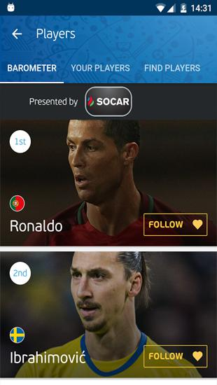Capturas de tela do programa UEFA Euro 2016: Official App em celular ou tablete Android.