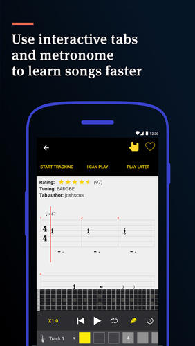 Screenshots of Ultimate Guitar: Tabs and Chords program for Android phone or tablet.
