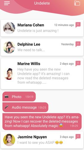 Descargar gratis Undelete - Recover deleted messages on WhatsApp para Android. Programas para teléfonos y tabletas.
