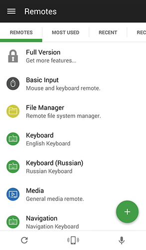 Screenshots of Unified remote program for Android phone or tablet.