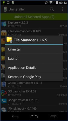 Les captures d'écran du programme Uninstaller pour le portable ou la tablette Android.