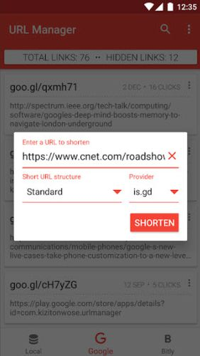 Screenshots of URL manager program for Android phone or tablet.