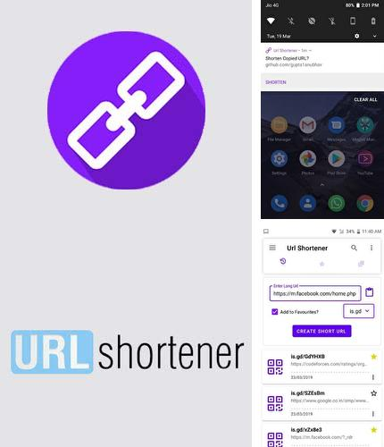 Besides BeyondPod podcast manager Android program you can download URL shortener for Android phone or tablet for free.