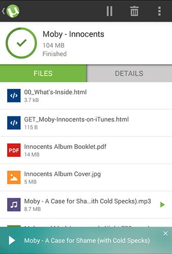 Screenshots des Programms µTorrent für Android-Smartphones oder Tablets.