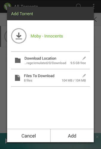 Capturas de tela do programa µTorrent em celular ou tablete Android.