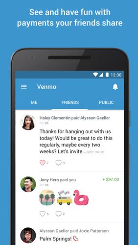 Les captures d'écran du programme Venmo: Send & receive money pour le portable ou la tablette Android.