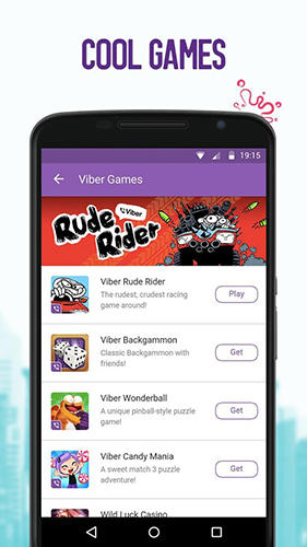 Capturas de tela do programa Viber em celular ou tablete Android.