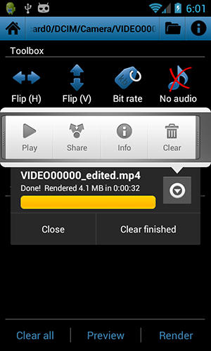 Les captures d'écran du programme Video toolbox editor pour le portable ou la tablette Android.