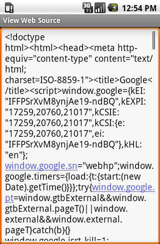 Screenshots des Programms View Web Source für Android-Smartphones oder Tablets.
