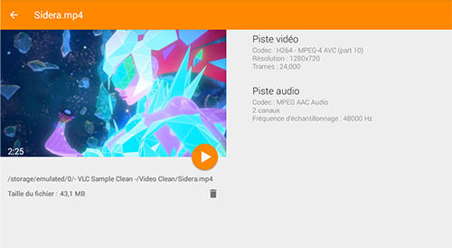 Capturas de pantalla del programa VLC media player para teléfono o tableta Android.