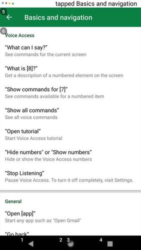 Screenshots of Voice access program for Android phone or tablet.