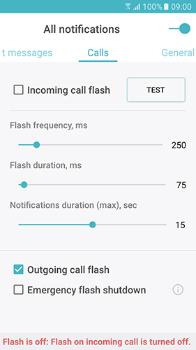 Les captures d'écran du programme Flash on call pour le portable ou la tablette Android.