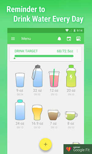 Capturas de tela do programa Water drink reminder em celular ou tablete Android.