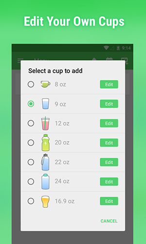 Les captures d'écran du programme Water drink reminder pour le portable ou la tablette Android.