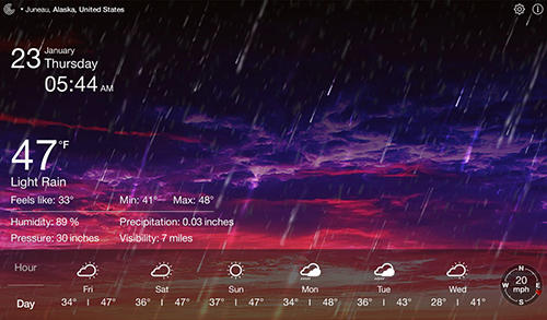 Les captures d'écran du programme Weather live pour le portable ou la tablette Android.