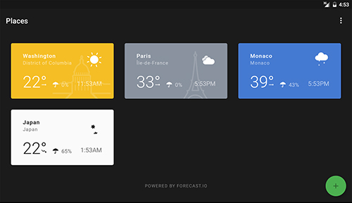 Capturas de pantalla del programa Weather timeline para teléfono o tableta Android.