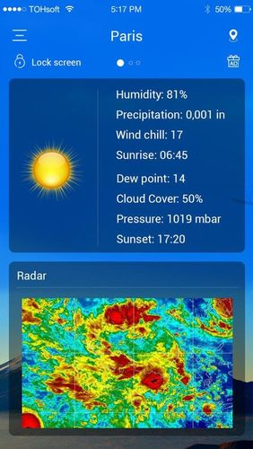 Screenshots des Programms Weather forecast für Android-Smartphones oder Tablets.