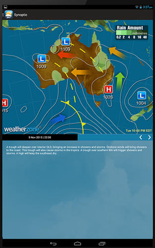Les captures d'écran du programme Weatherzone plus pour le portable ou la tablette Android.