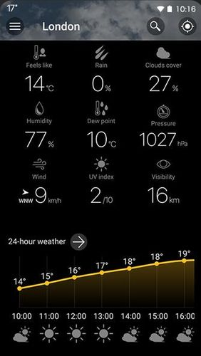 Capturas de pantalla del programa Weawow: Weather & Widget para teléfono o tableta Android.