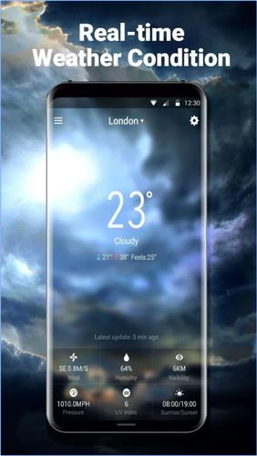 Les captures d'écran du programme Neon weather forecast widget pour le portable ou la tablette Android.