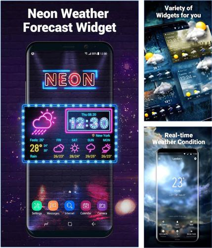 Descargar gratis Neon weather forecast widget para Android. Apps para teléfonos y tabletas.