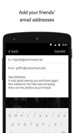 Screenshots of We Transfer program for Android phone or tablet.