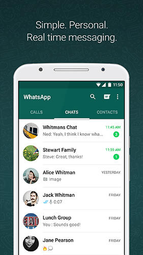 Screenshots des Programms WhatsApp messenger für Android-Smartphones oder Tablets.