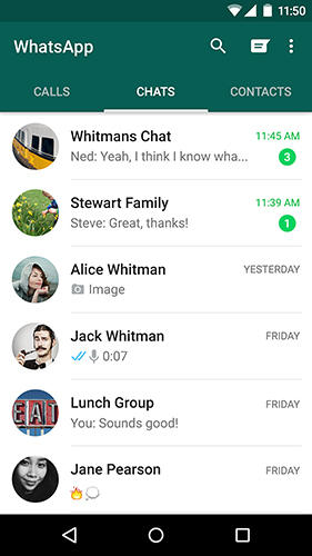 Screenshots of WhatsApp messenger program for Android phone or tablet.