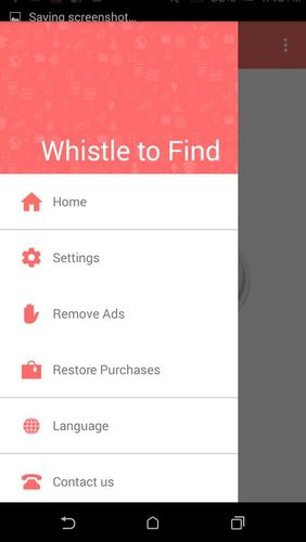 Screenshots of Whistle to find program for Android phone or tablet.