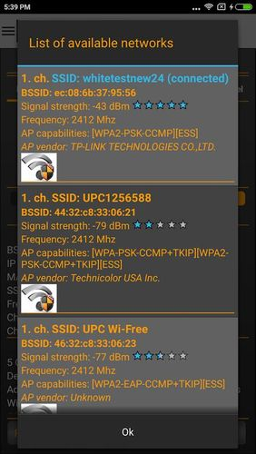 Screenshots of Wi-Fi analyzer program for Android phone or tablet.