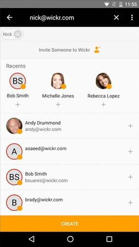 Screenshots of Wickr Me – Private messenger program for Android phone or tablet.