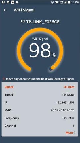Les captures d'écran du programme WiFi router master - WiFi analyzer & Speed test pour le portable ou la tablette Android.