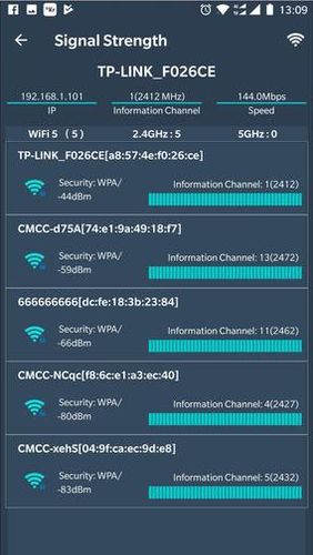 Capturas de pantalla del programa WiFi router master - WiFi analyzer & Speed test para teléfono o tableta Android.