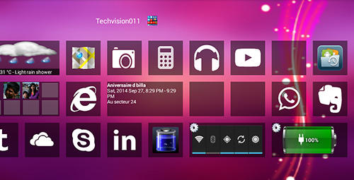 Screenshots of Windows 8+ launcher program for Android phone or tablet.