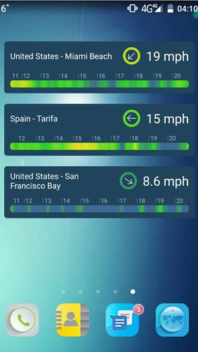 Screenshots des Programms WINDY: Wind forecast & marine weather für Android-Smartphones oder Tablets.