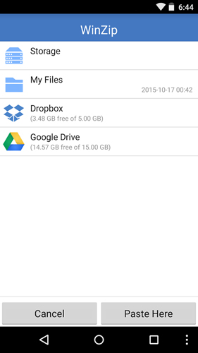 Screenshots of WinZip program for Android phone or tablet.