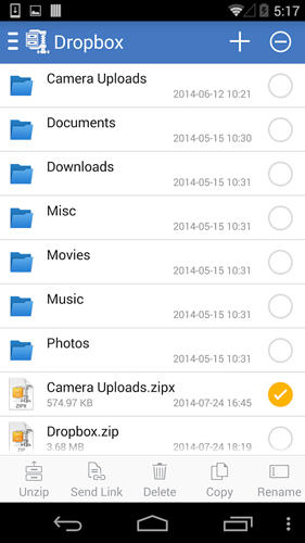 Capturas de tela do programa WinZip em celular ou tablete Android.