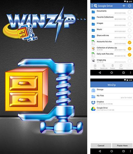 Besides Microsoft Office Mobile Android program you can download WinZip for Android phone or tablet for free.