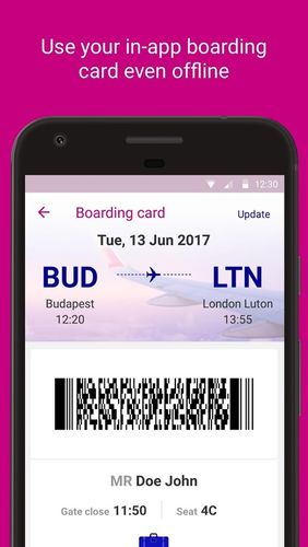 Les captures d'écran du programme Wizz air pour le portable ou la tablette Android.