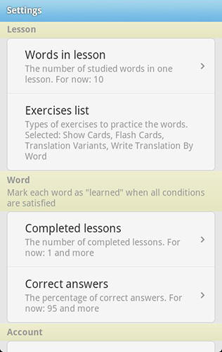 Screenshots of Word steps program for Android phone or tablet.