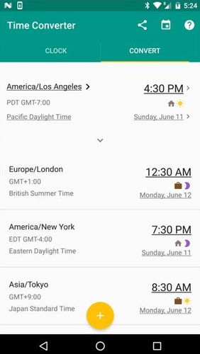 Les captures d'écran du programme World clock pour le portable ou la tablette Android.