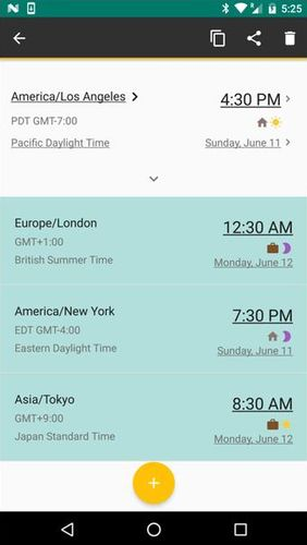 Screenshots des Programms World clock für Android-Smartphones oder Tablets.