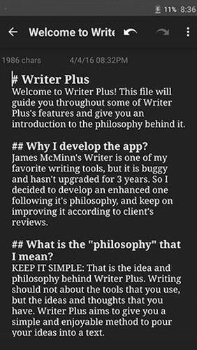 Les captures d'écran du programme Writer plus (Write on the go) pour le portable ou la tablette Android.