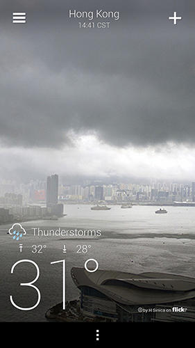 Screenshots des Programms Yahoo weather für Android-Smartphones oder Tablets.