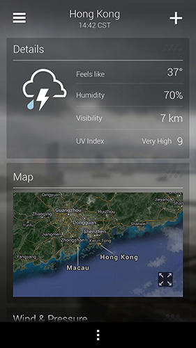 Les captures d'écran du programme Yahoo weather pour le portable ou la tablette Android.