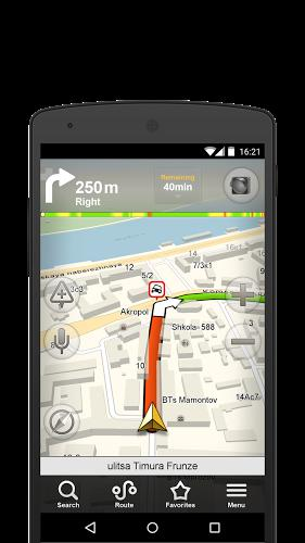 Screenshots of Yandex navigator program for Android phone or tablet.