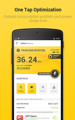 Yellow battery app for Android, download programs for phones and tablets for free.